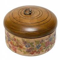 Шкатулка круглая деревянная Цветы