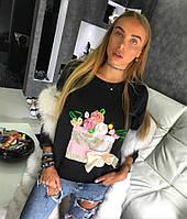 Женский свитшот черного цвета с принтом из пайеток и цветов, женские свитшоты оптом от производителя