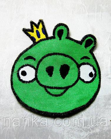 Тканевая нашивка аппликация Свинка король № 35, фото 2