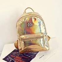 Стильный женский золотой рюкзак-голограмма Givenchy (Живанши)