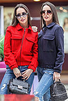Женская демисезонная куртка из пальтовой ткани (разные цвета)