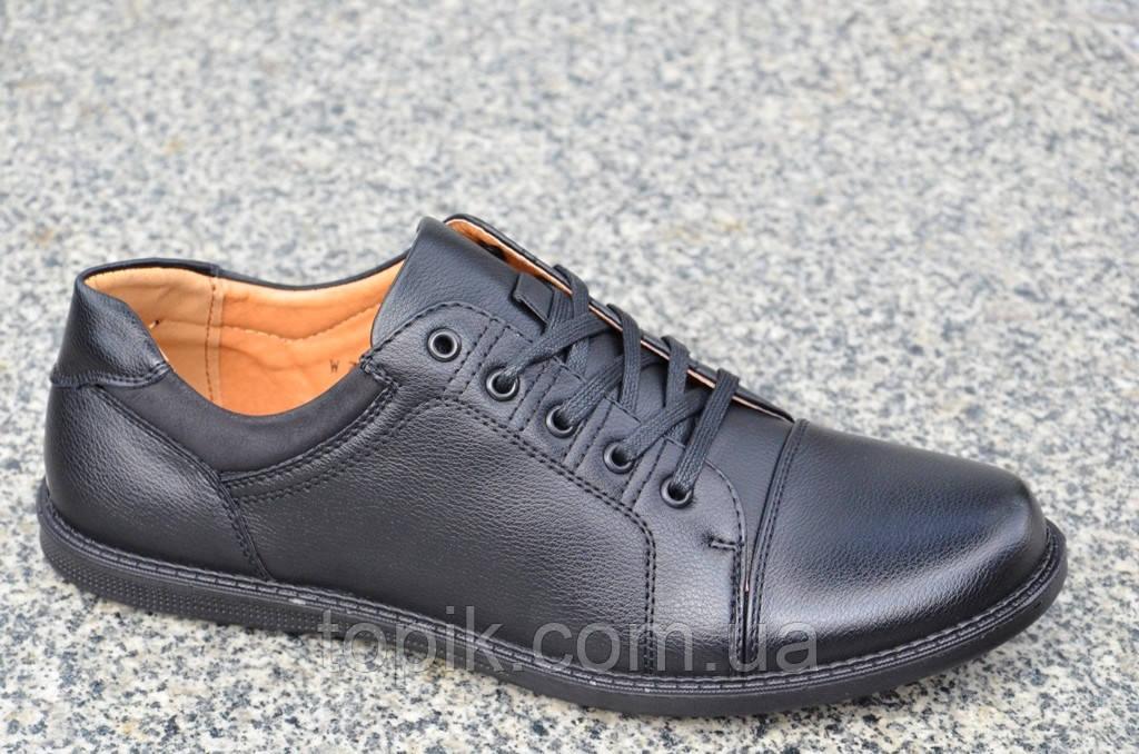 Туфли, мокасины мужские стильные, легкие черные искусственная кожа Китай 2017. (Код: 855)