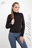 Женский  свитер  вязаный узором шахматка