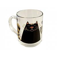 """Чашка стекло 200 мл """"Green Tea. Кіт"""" 3694/OAE/Галерея/"""