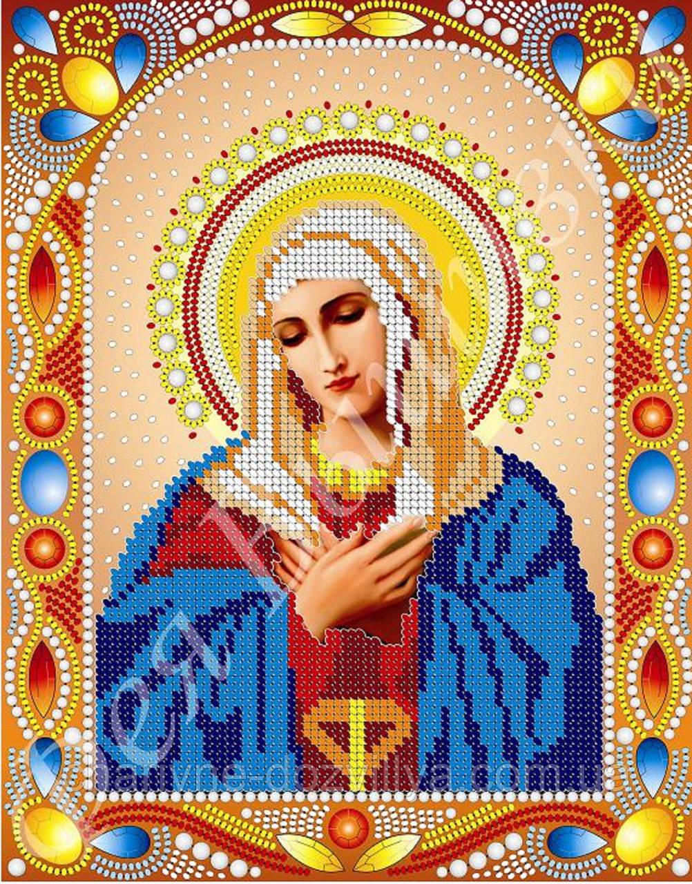 """Схема для вышивки бисером икона """"Богородица Умиление"""" (комплектация жемчугом и камнями)"""