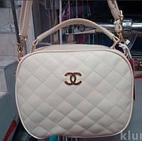 Женский стёганый клатч Chanel (Шанель), белый