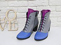 Эксклюзивные ботиночки со шнуровкой на устойчивом каблучке, из натуральной кожи и замши.