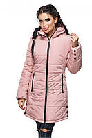 Стильная зимняя куртка ЕВА пудра  ТМ Модная Зона 44-52 размеры