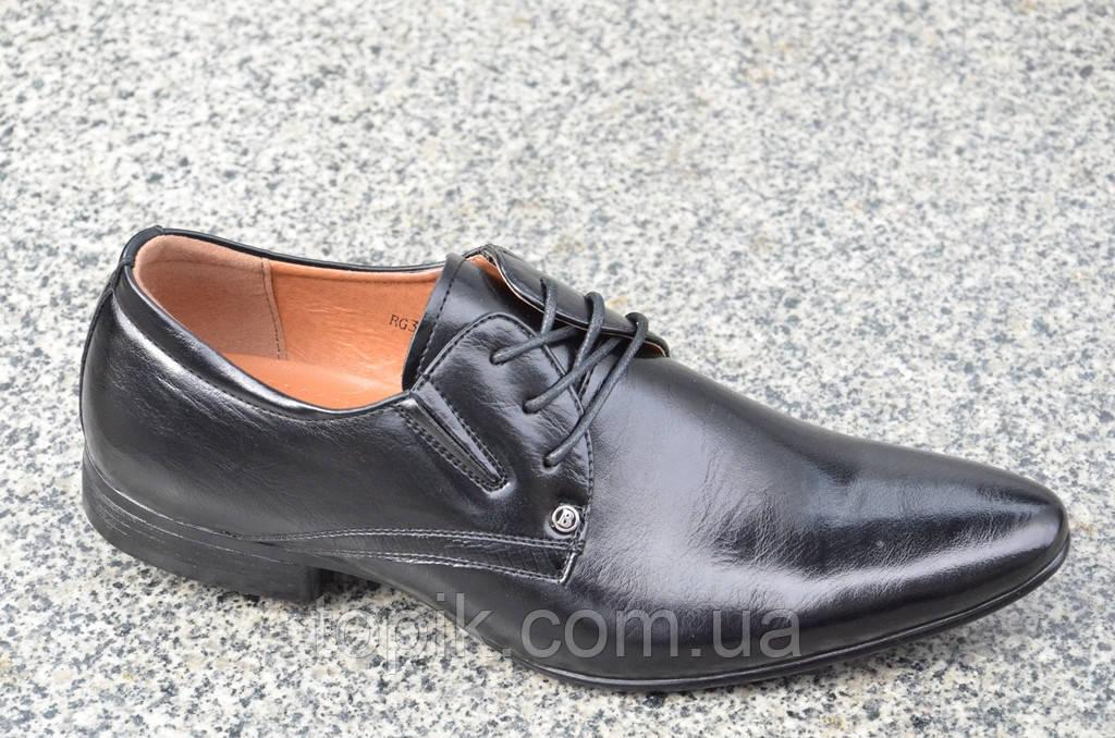 Модельные туфли с острым носком на шнурках черные мужские искусственная кожа 2017. (Код: 858)