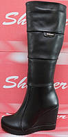 Сапоги женские кожаные зимние на танкетке, сапоги женские кожа от производителя модель СТС10П
