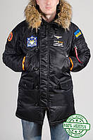 Мужская зимняя парка Olymp с нашивками - Аляска черная