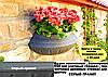 """Вазон настенный, балконный 450 мм """"Серый гранит"""" уличные горшки (Термочаша двойные стенки) для цветов"""