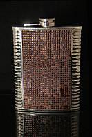Металлическая фляга с кожей 600 мл №4