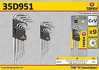 Набор ключей TS10-TS50 пятигранных длинных 9шт., TOPEX 35D951