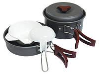 Набор туристической посуды из анодированного алюминия на 1-2 персоны Tramp TRC-025