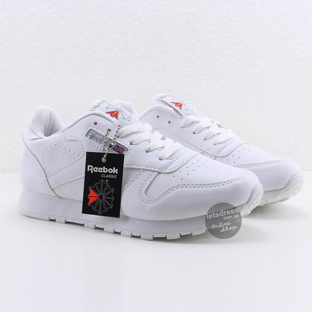 ✅ Кроссовки женские Reebok Classic Leather White Рибок Классик белые