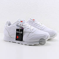 Женские кроссовки Reebok Classic Leather White Рибок Классик белые реплика Вьетнам