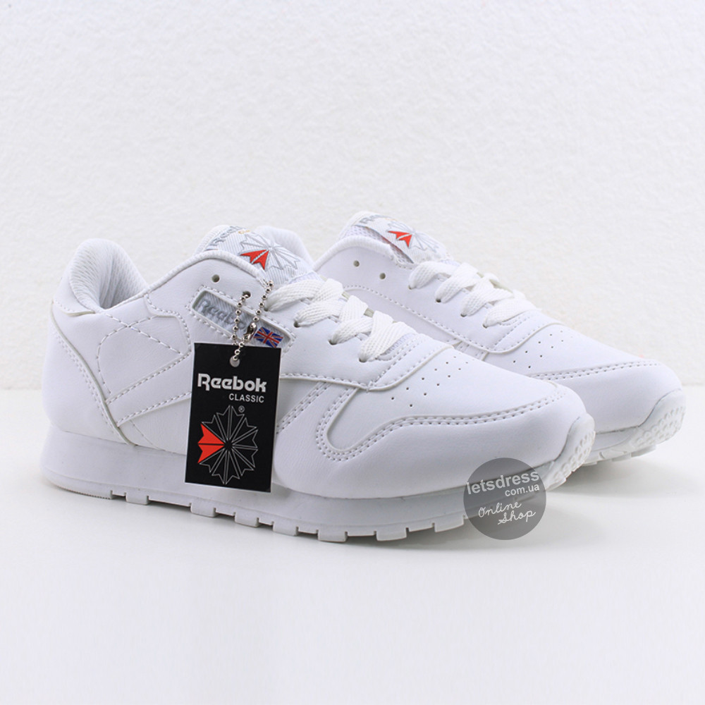 Женские кроссовки Reebok Classic Leather White Рибок Классик белые реплика  Вьетнам c60e8e87960