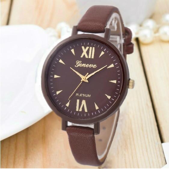 Женские часы Geneva Jelly Candy на ремешке из экокожи коричневые