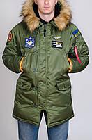 Зимняя мужская парка Olymp с нашивками - Аляска хаки XL