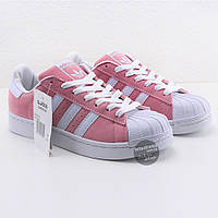 Женские оригинальные розовые кроссовки, кеды  Adidas Superstar Pink Rose Blank ( Адидас суперстар )