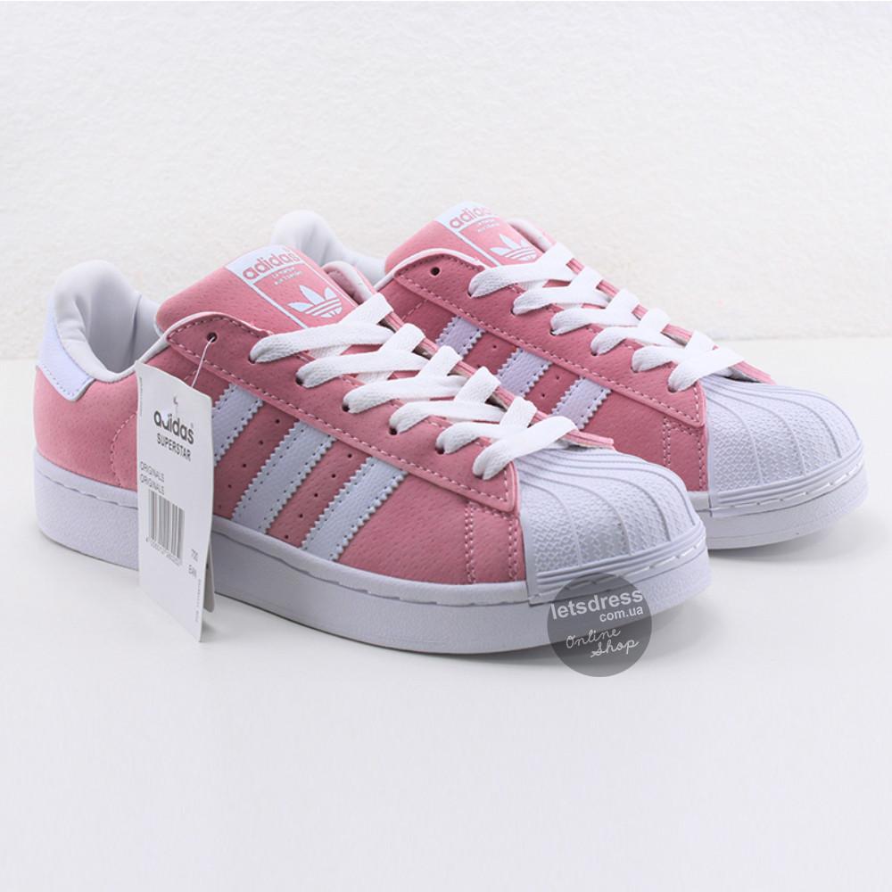 Жіночі оригінальні рожеві кросівки, кеди Adidas Superstar Pink Rose Blank ( Адідас суперстар )