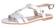 Босоножки женские белые Rivets плоский ход на ремешке, Белый, 40