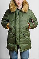 Мужская модная парка Olymp с нашивками - Аляска хаки