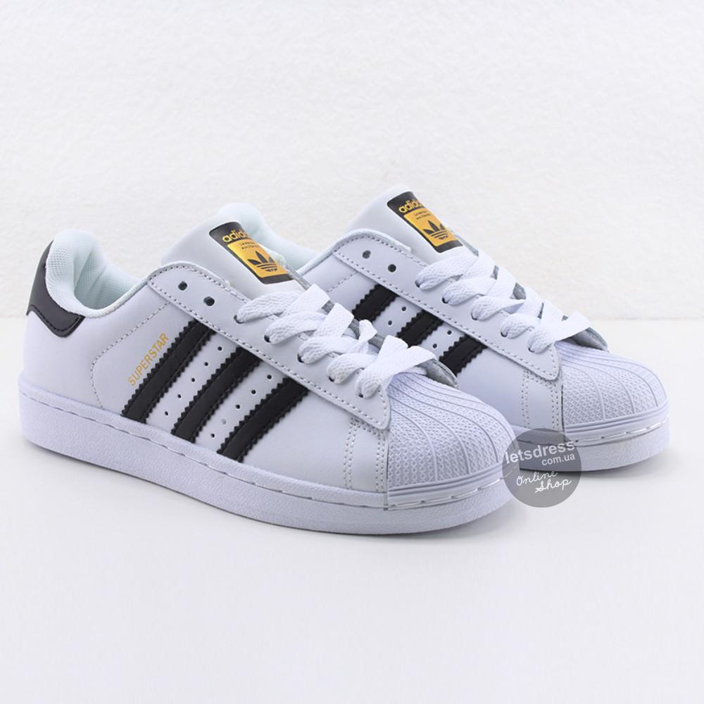 Кроссовки мужские Adidas Superstar White-Black    Адидас Суперстар мужские белые реплика Вьетнам