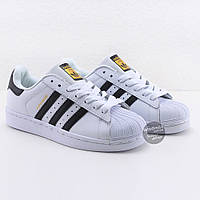 Кроссовки мужские Adidas Superstar White-Black  | Адидас Суперстар мужские белые реплика Вьетнам 43-27.8 см