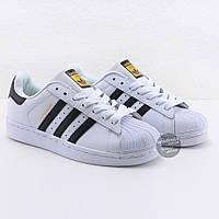 Кроссовки мужские Adidas Superstar White-Black  | Адидас Суперстар мужские белые реплика Вьетнам