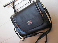 Стильная женская сумка из кожзама с двумя замками, черная