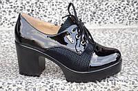 Туфли на широком каблуке, на платформе женские черные популярные 2017