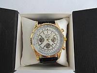 Мужские наручные часы Breitling (Брейтлин) золото с белым циферблатом