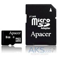 Карта памяти Apacer 8GB microSDHC Class 4  + Adapter RP (AP8GMCSH4-RA)