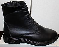 Ботинки кожаные на маленьком каблуке, демисезонная женская обувь от производителя модель В1675