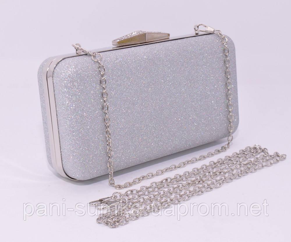 1724fc24b240 Вечерний клатч Rose Heart 09829 серебристый, сумочка на цепочке, фото 1