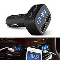 4 в 1. Зарядное USB (2 выхода) + вольтметр +амперметр+ термометр (в Цельсиях).