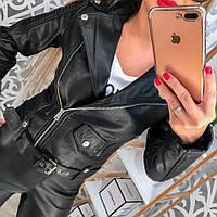 Женская стильная кожаная куртка с поясом, р.р 40-46, 2 цвета