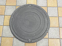 Канализационный люк полимерпесчаный садовый черный с замком