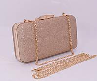 Вечерний клатч Rose Heart 09829 бежево-золотистый (цвета шампанского), сумочка на цепочке, фото 1