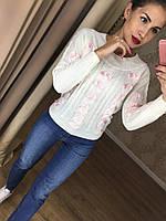 Привлекательный женский свитер (фабричный Китай, хлопок вязка, декор лента, круглая горловина) РАЗНЫЕ ЦВЕТА!