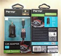 """Автомобильное зарядное устройство + USB кабель для Apple (2.1 A), black """"Parmp"""" (UCP-05M)"""