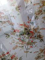 """Тюль под лен (кисея) """"Разноцветное дерево"""", цвет № 1"""