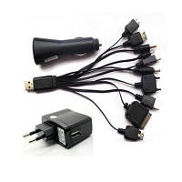 Универсальное сетевое и автомобильное зарядное устройство + USB cable 12 в 1