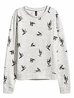 Свитшот H&M с птичками, в наличии XS S M L