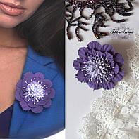 """Заколка цветок """"Фиолетовая скабиоза"""". Украшение для волос ручной работы. Цветок из полимерной глины, фото 1"""