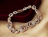 Браслет ДЖЕННИ GOLD ювелирная бижутерия золото 18к декор кристаллы Swarovski
