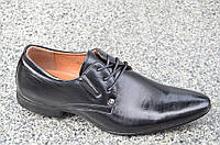 Модельные туфли с острым носком на шнурках черные мужские искусственная кожа 2017. Топ