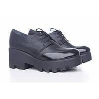 Туфли женские черные кожаные на платформе 3216-09